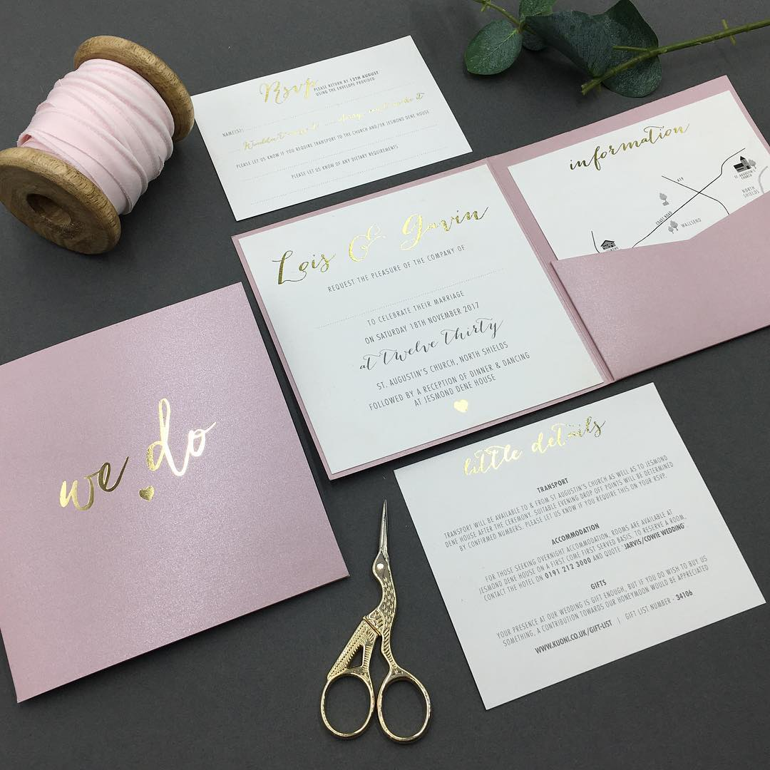 Victorias Paperie Lois And Gavin Rose Gold And Blush 2
